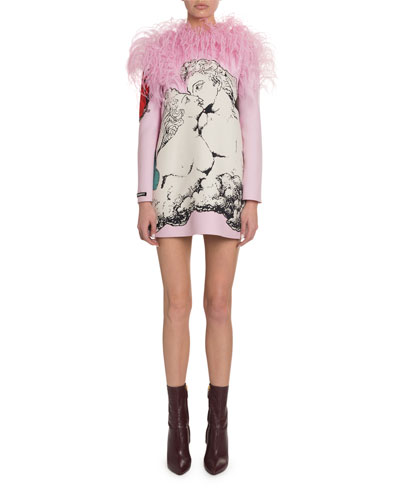 Feather-Shoulder Lovers Graphic Crepe Cocktail Dress