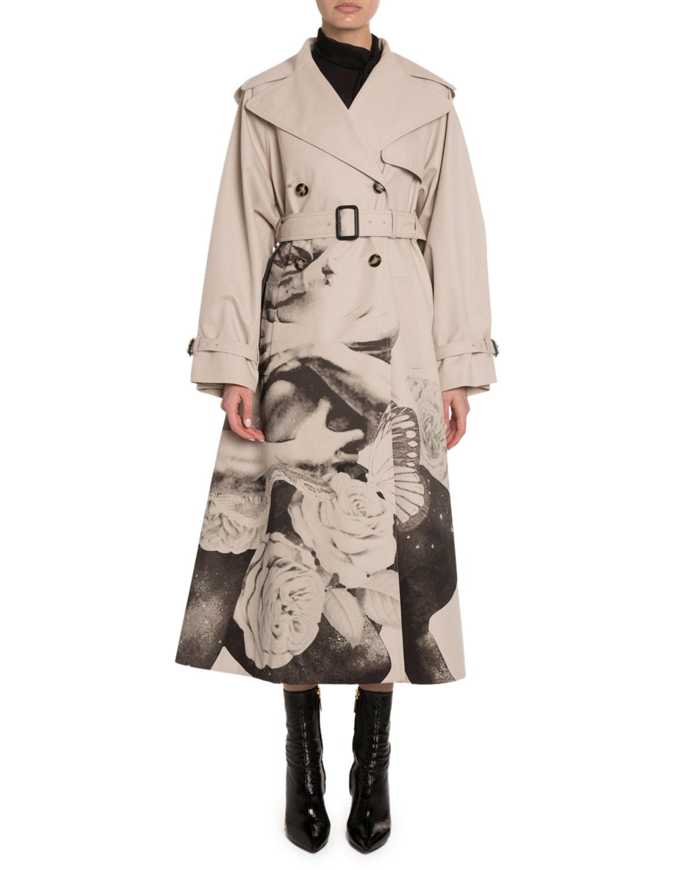 Valentino Lovers Graphic Gabardine Trench Coat In Beige