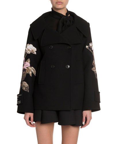 Rose Embroidered Open-Collar Coat