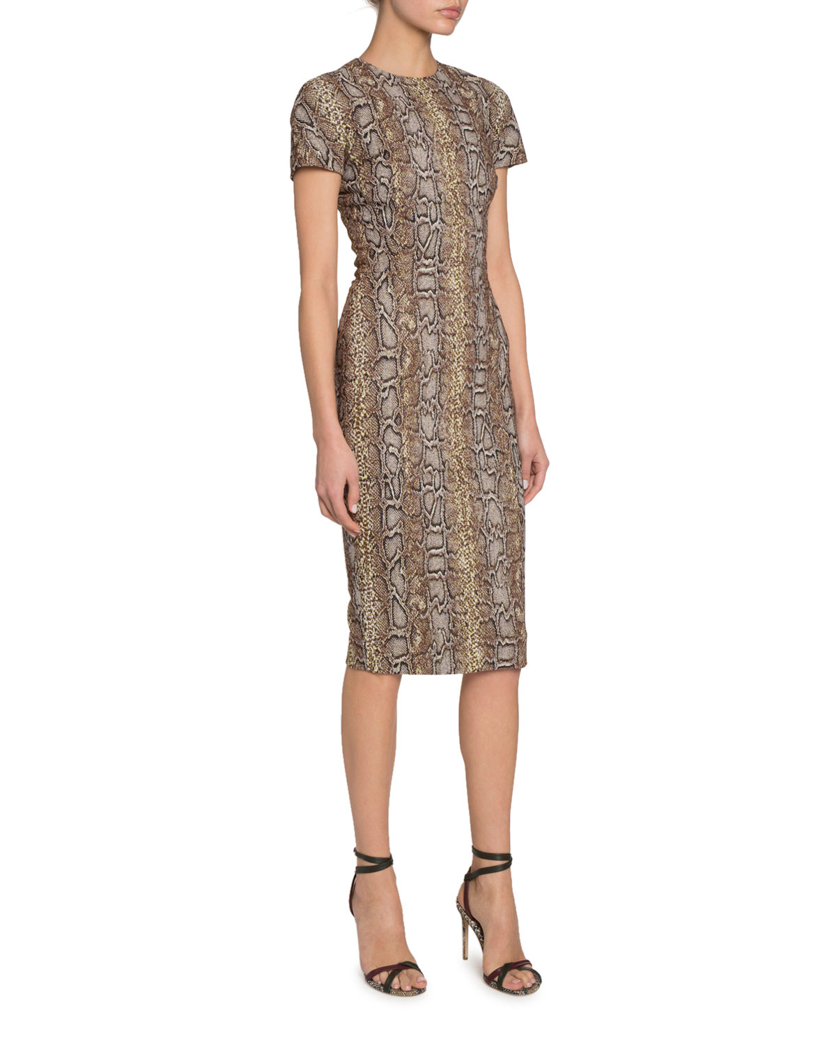 Victoria Beckham Dresses PYTHON PRINT FITTED T-SHIRT DRESS