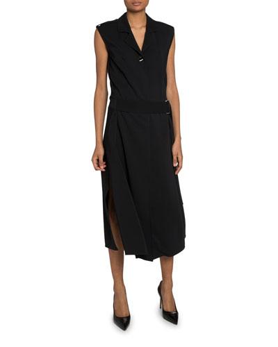 Belted Twill Vest Midi Dress