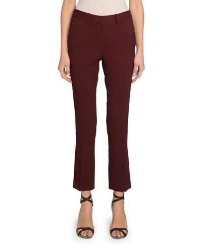 Cropped Slim-Leg Wool Trousers