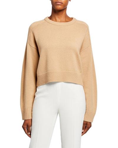 Wool-Cashmere Raglan-Sleeve Crop Sweater