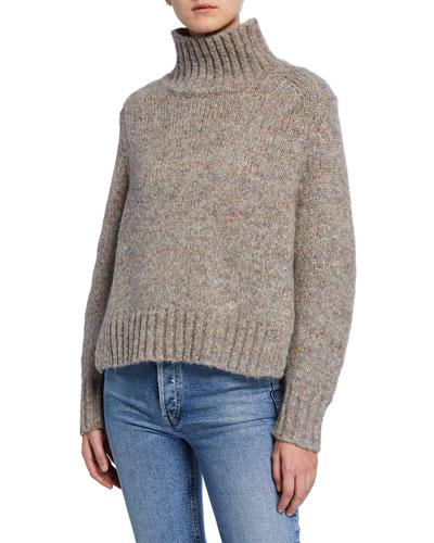 Alpaca Melange Turtleneck Sweater
