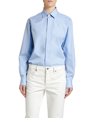 Chambray Button-Front Long-Sleeve Shirt