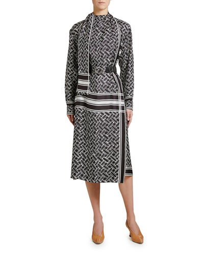 Twill Graphic Print Wrap Dress