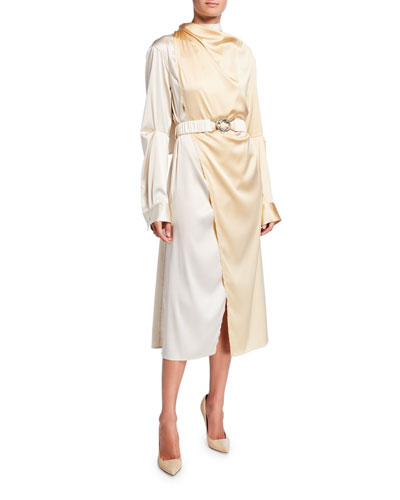 Bicolor Wrapped Silk Dress