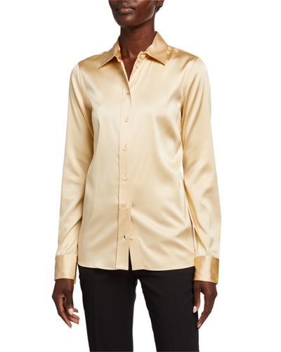 Silk Twill Button-Front Blouse