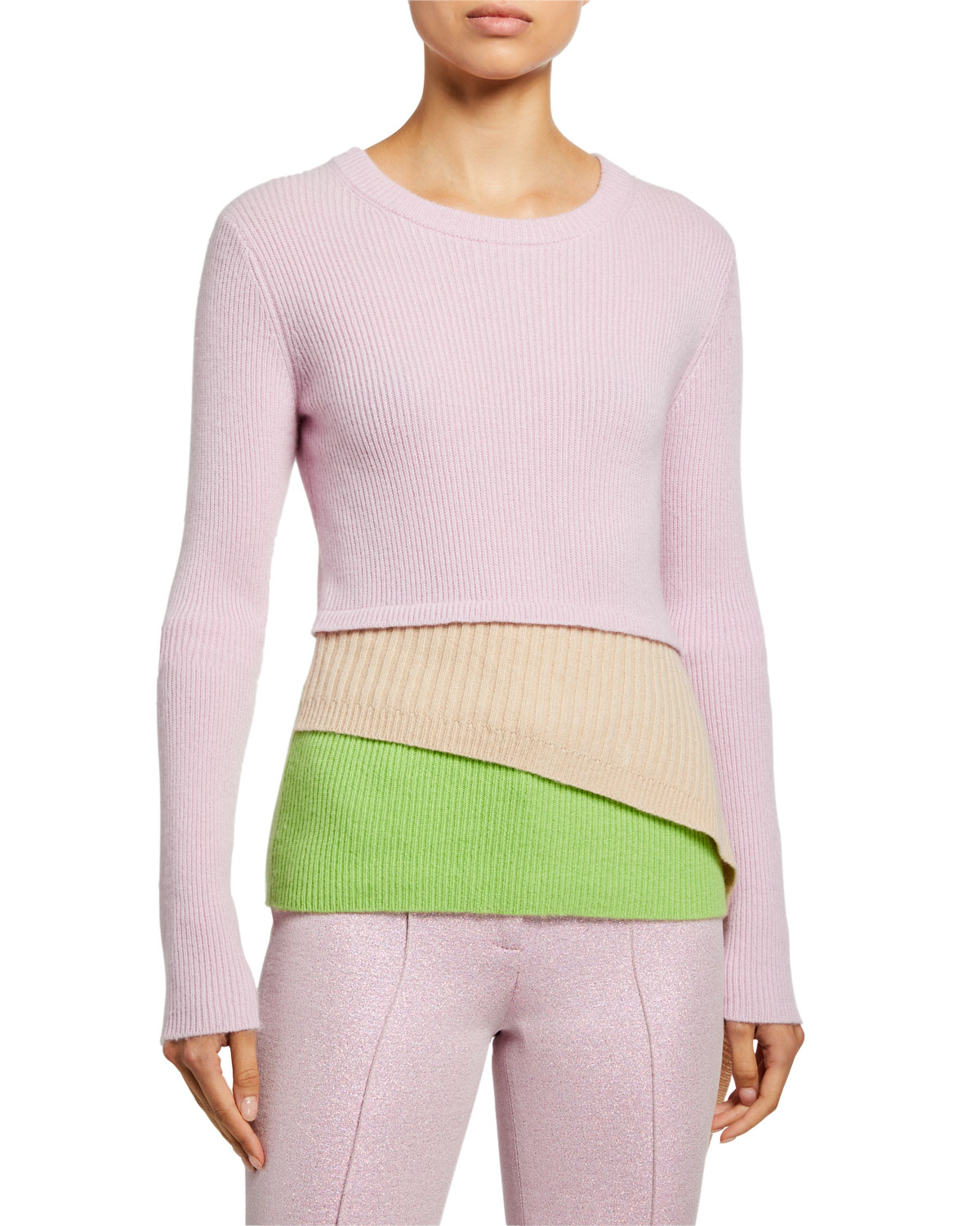 Sies Marjan Sweaters WOOL-CASHMERE ASYMMETRIC LAYERED SWEATER