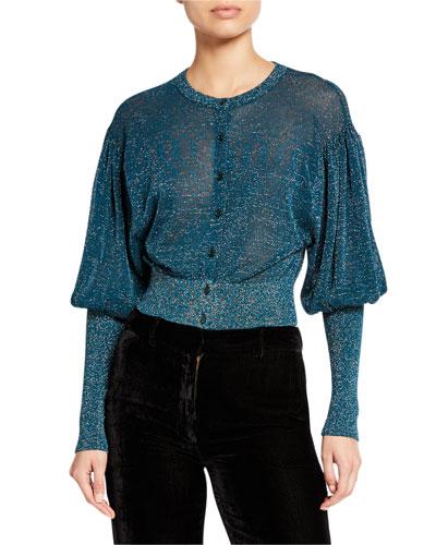 Metallic Puff-Sleeve Cardigan Sweater