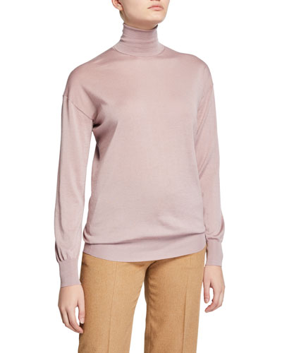 28c31e6514 Cashmere/Silk Knit Long-Sleeve Turtleneck Sweater