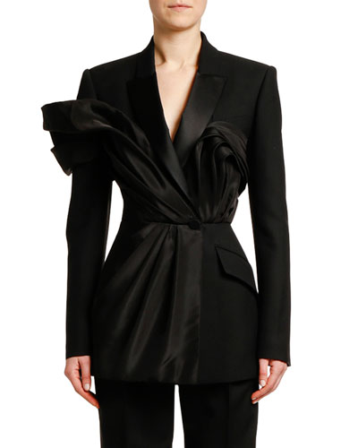 Silk Ruffled Evening Blazer