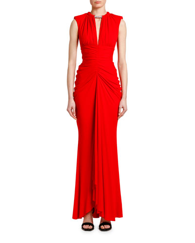 Ruched Crystal-Neck Jersey Gown