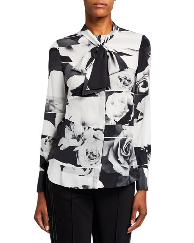 Rose-Print Tie-Neck Blouse