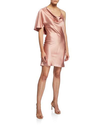 Cowl-Neck Single-Sleeve Cocktail Dress
