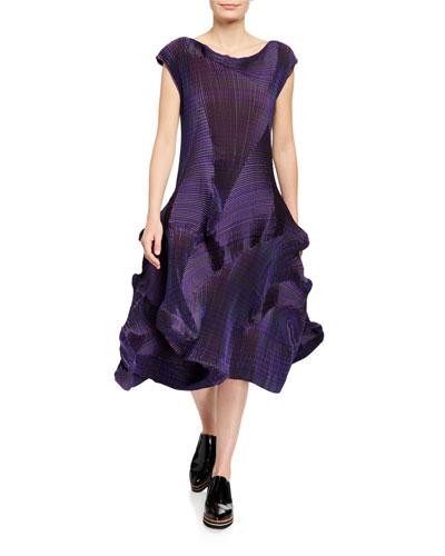 Corona Rippled Crepe Midi Dress