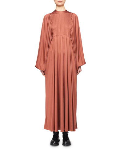 Doan Pleated Silk Balloon-Sleeve Dress
