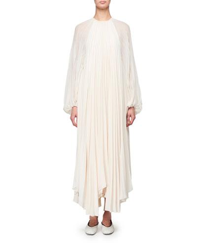 Martina Knife Pleated Full-Sleeve Dress