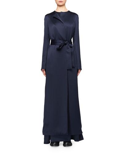 Madi Belted Satin Long Coat