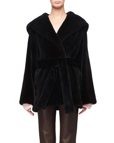 Mink Fur Hooded Wrap Coat