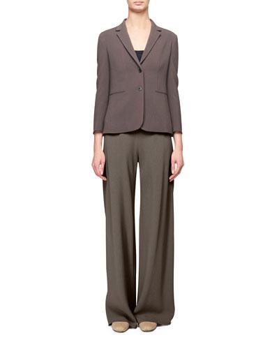 Lobton Bracelet-Sleeve Stretch-Cotton Blazer, Gray