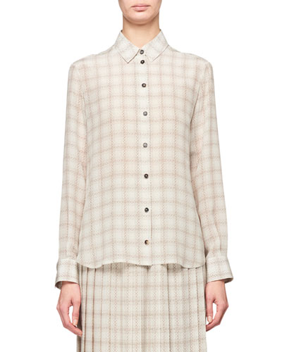 Jonas Squiggle Print Button-Front Silk Shirt