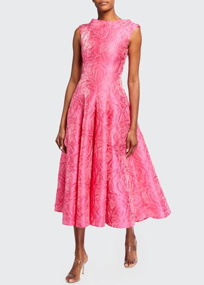 Rose-Jacquard Satin Tea-Length Dress