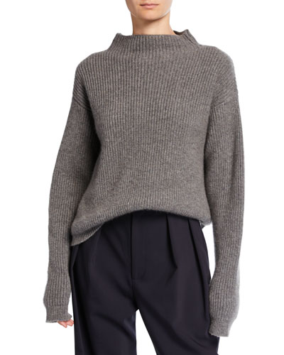 Cashmere Ribbed Mock-Neck Sweater