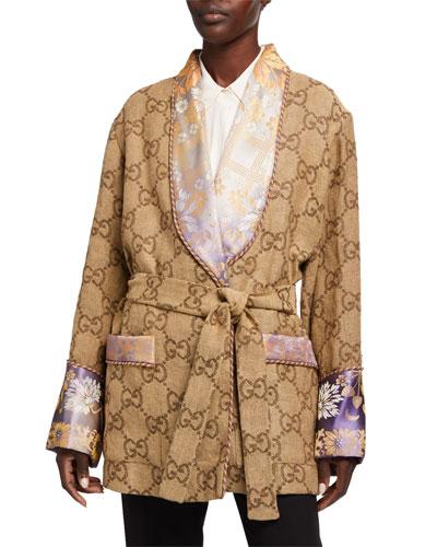 GG Linen Robe Jacket