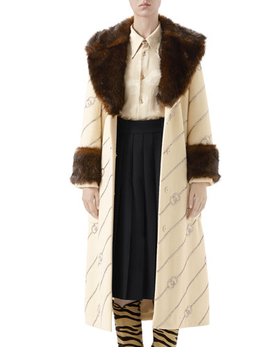 Logo Jacquard Faux-Fur Trim Coat