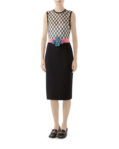 GG Macrame Tie-Waist Sheath Dress