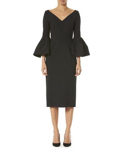 Open V-Neck Bell-Sleeve Dress
