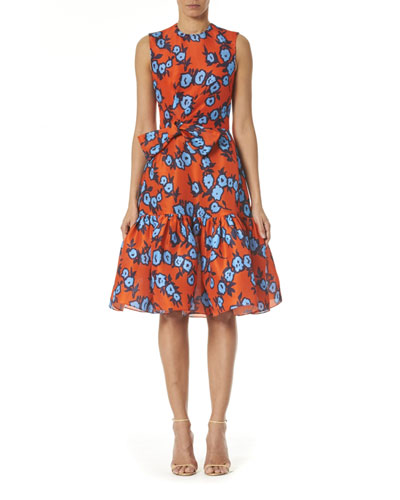 Floral Print Bowed-Waist Silk Dress