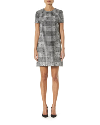 Glen Check Wool-Silk Shift Dress