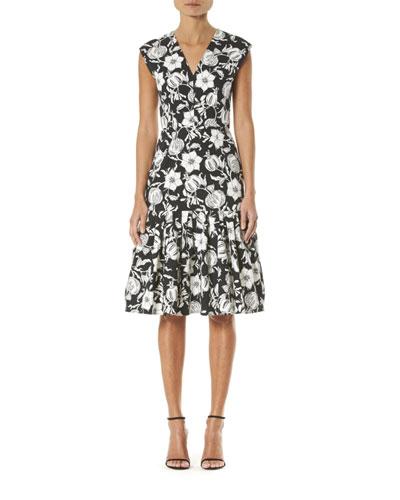 Floral-Print Cap-Sleeve Midi Dress