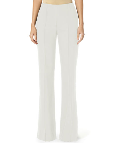 Stretch Wool Wide-Leg Pants, White