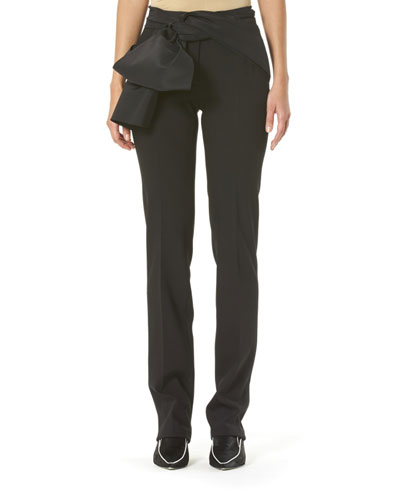 Sash-Waist Straight-Leg Pants