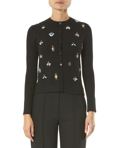 Cashmere-Silk Jeweled Bug Embroidered Cardigan