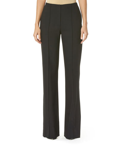 Stretch Wool Wide-Leg Pants, Black