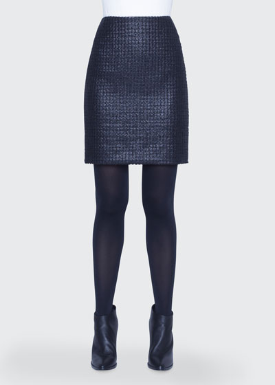 Lacquered Tweed Skirt