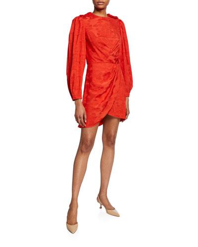 Liricas del Momento Palm-Jacquard Satin Asymmetric Dress
