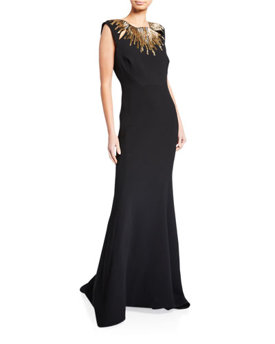 Embroidered-Neck Sleeveless Gown