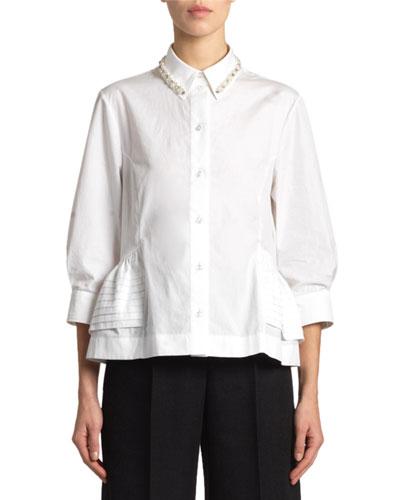 Poplin Jeweled-Collar Peplum Shirt
