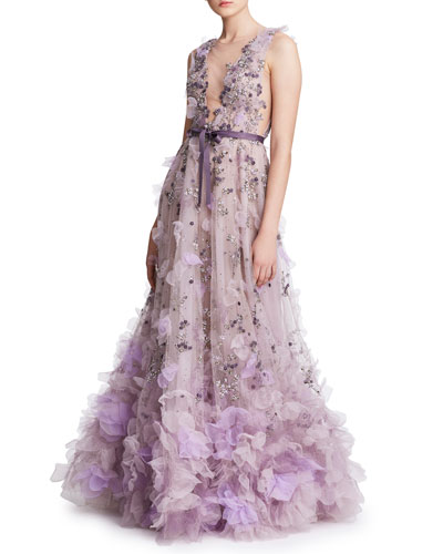 Tulle Plunging V-Neck Gown