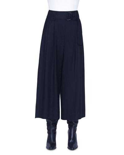 Fiorella Wool Wide-Leg Belted Pants