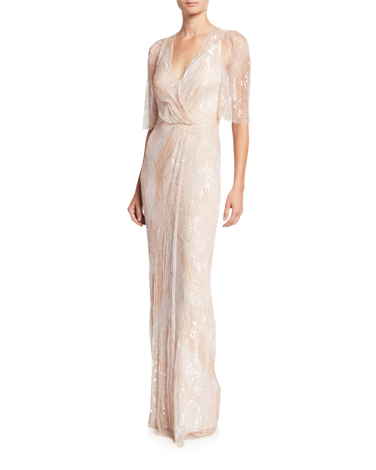 Jenny Packham Tops SEQUINED TULLE CROSSOVER COLUMN GOWN