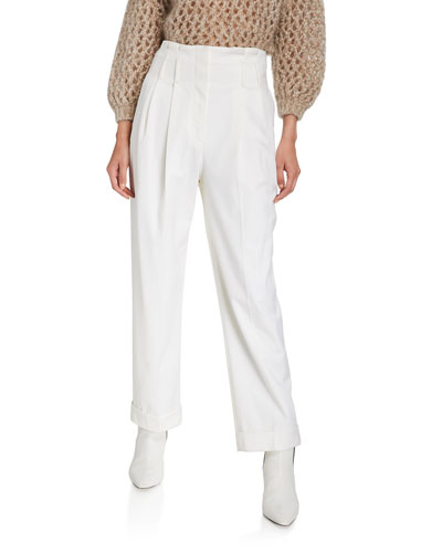 Wool Pleated Full-Leg Pants