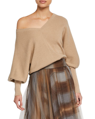 Giovanna Cashmere Shoulder-Cutout Sweater
