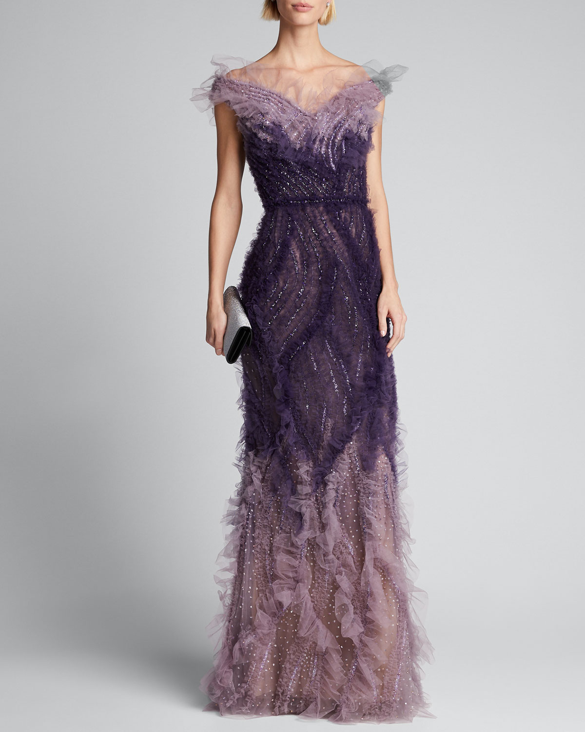 Marchesa Tops OMBRE TULLE OFF-THE-SHOULDER GOWN