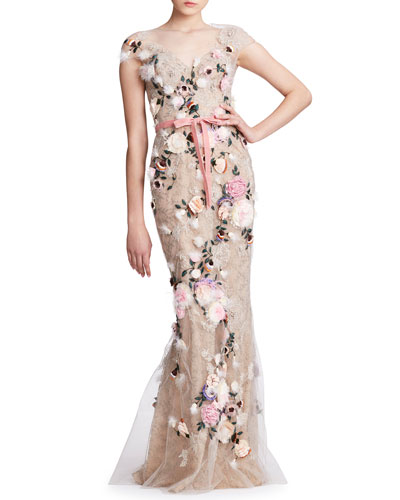 Feather Trim Floral-Embroidered Tulle V-Neck Gown
